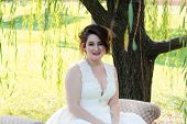 stock photo of weeping willow tree  - An elegant bride sitting under a weeping willow tree - JPG