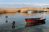 picture of macedonia  - Boats in Lake Ohrid the deepest lake of the Balkans in Republic of Macedonia  - JPG