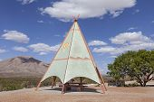 foto of teepee  - An Indian Teepee set up at Highway Picnic Area - JPG