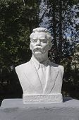 stock photo of maxim  - Monument to Russian writer Maxim Gorky in park of Tutaev Russia - JPG