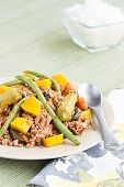 pic of filipino  - Pinakbet or pakbet is an indigenous Filipino dish from the northern regions of the Philippines made from mixed vegetables and longaniza suasage steamed in fish or shrimp sauce - JPG
