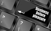 stock photo of porno  - business before pleasure button on computer keyboard key - JPG