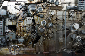 stock photo of time machine  - Detail of a rusted machine in abandoned factory - JPG
