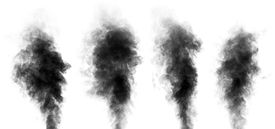 stock photo of steam  - Set of black steam looking like smoke isolated on white background. Collection of clouds of black smoke. ** Note: Visible grain at 100%, best at smaller sizes - JPG
