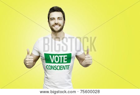 Conscience Vote (Portuguese: Vote Consciente) Campaign by a man on yellow background