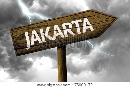 Jakarta wooden sign on a bad day