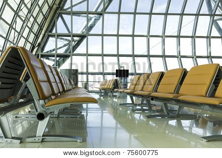 A brand new departure lounge at the airport
