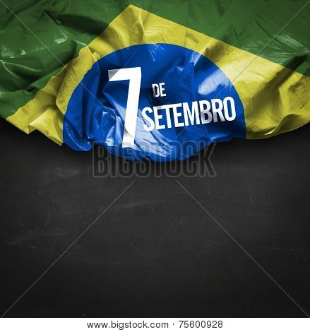 September, 7 Independence of Brazil - Dia 7 de Setembro, Independencia do Brasil on blackboard background