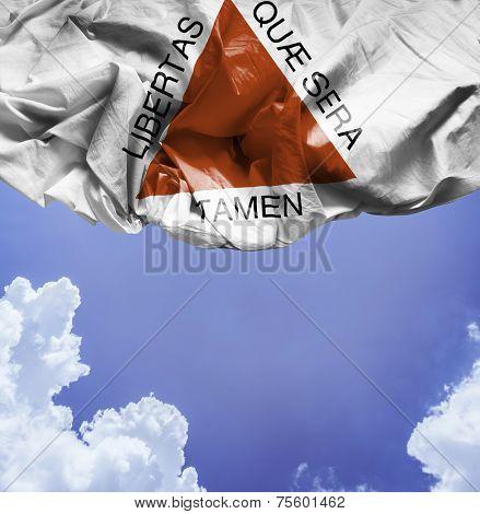 Minas Gerais, Brazil waving flag on a beautiful day