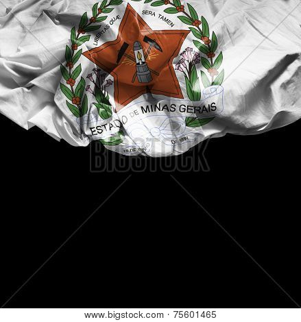 Minas Gerais Coat of Arms waving flag on black background