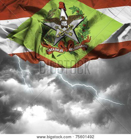 Santa Catarina, Brazil waving flag on a bad day
