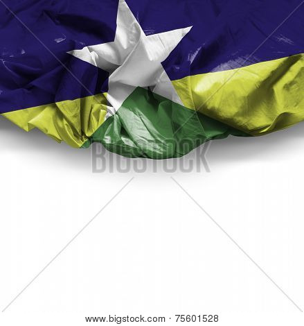 Rondonia, Brazil waving flag on white background