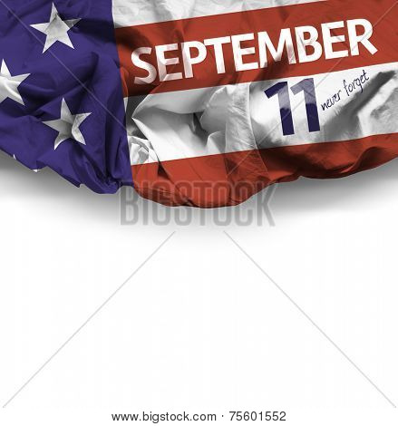 9/11 Patriot Day, September 11 waving flag on white background