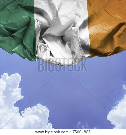 Ireland waving flag on a beautiful day