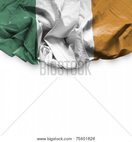 Ireland waving flag on white background