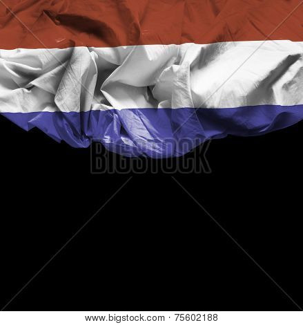 Netherlands waving flag on black background