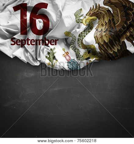 September, 16 Independence of Mexico on blackboard background
