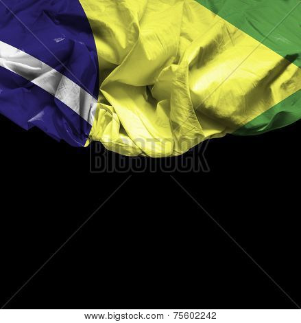 Brazil waving flag on black background
