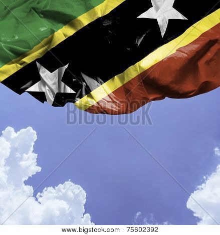 Saint Kitts and Nevis waving flag on a beautiful day