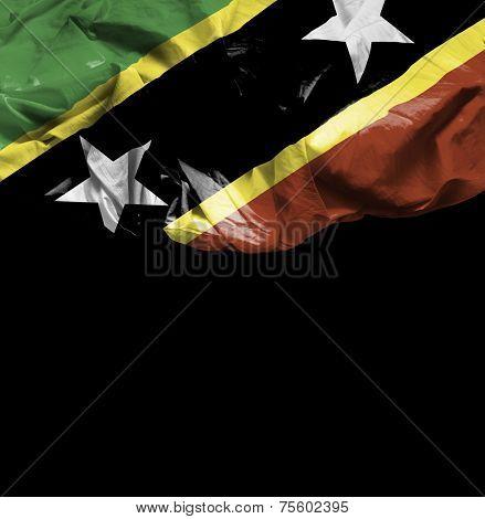 Saint Kitts and Nevis waving flag on black background