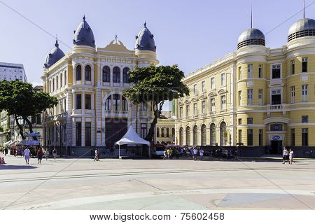 RECIFE, BRAZIL - CIRCA JAN 2014: Marco Zero Square in Recife, Pernambuco, Brazil. It is a historic place where the city started and the local Carnival Festival takes place every year.