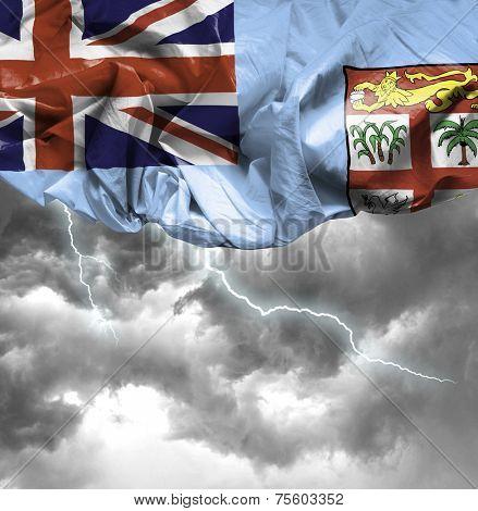 Fiji waving flag on a bad day