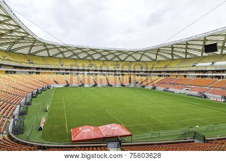 MANAUS, BRAZIL - CIRCA MARCH 2014: The famous Amazonia Stadium in Manaus, Brazil.