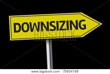 Downsizing creative sign on black background