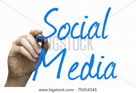 Social Media hand writing with a blue mark on a transparent board