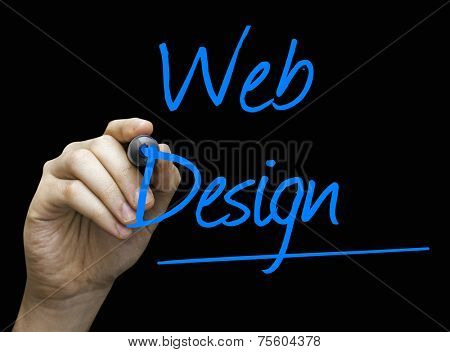 Web Design hand writing with a blue mark on a transparent board