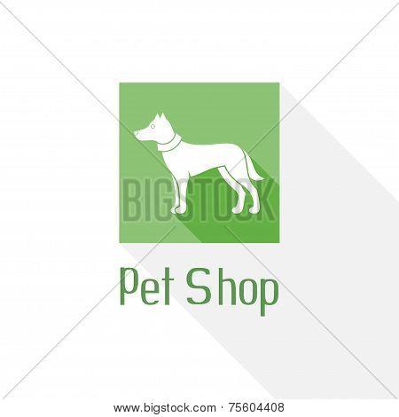 Flat pet shop logo with dog