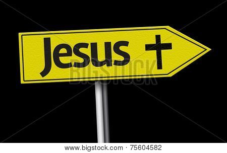 Jesus creative sign on black background