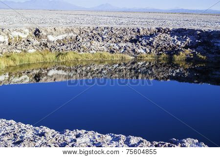 View of a Salt Lake near San pedro de Atacama, Chile