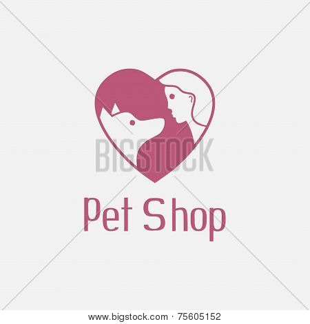 Flat pet shop logo with dog and man are best friends