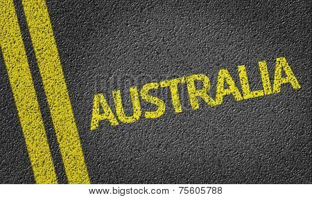 Australia written on the road
