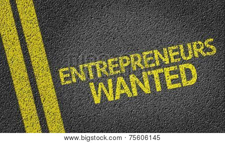 Entrepreneurs Wanted written on the road