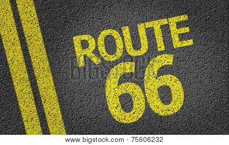 Route 66 written on the road