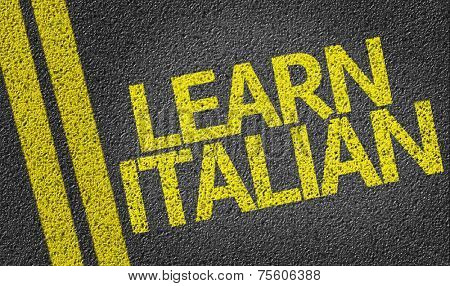 Learn Italian written on the road