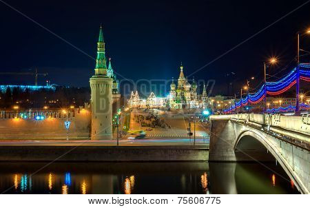 Red Square And The Bridge Over The Moscow Riwer At The Evening, Moscow, Russia