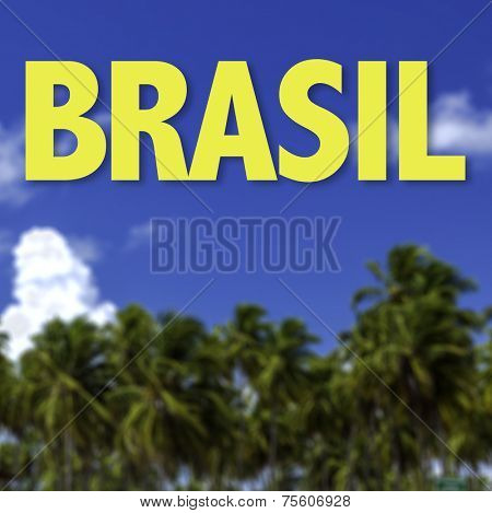 Brasil written on a beautiful beach background (in portuguese)
