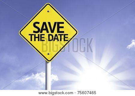 Save the Date road sign with sun background