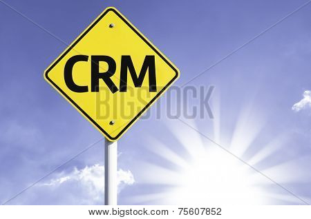 CRM road sign with sun background