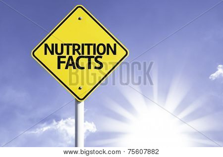Nutrition Facts road sign with sun background