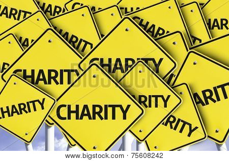 Charity written on multiple road sign