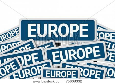 Europe written on multiple blue road sign