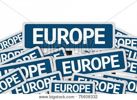 Europe written on multiple blue road sign