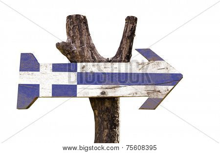 Greece wooden sign isolated on white background