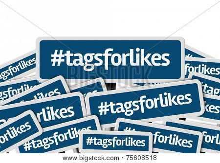 Hashtag: Tags For Likes written on multiple blue road sign