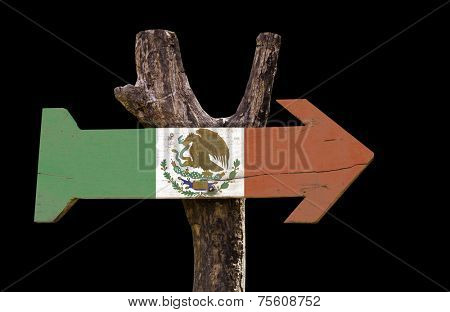 Mexico wooden sign isolated on black background