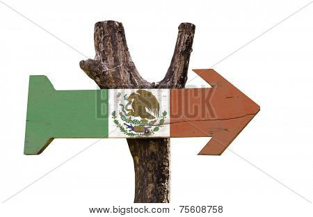 Mexico wooden sign isolated on white background